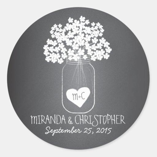 Chalkboard Mason Jar Personalized Favor Stickers