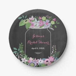Chalkboard Mason Jar Pink Floral Bridal Shower Paper Plate