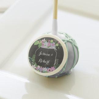 Chalkboard Mason Jar Pink Floral Wedding Cake Pops