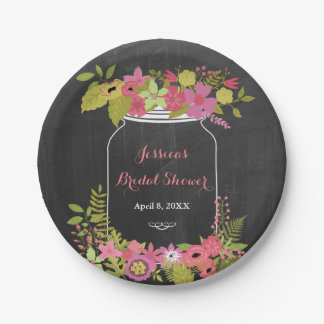 Chalkboard Mason Jar Pink Green Bridal Shower Paper Plate