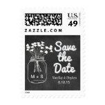 Chalkboard Mason Jar Postage Stamp Wedding
