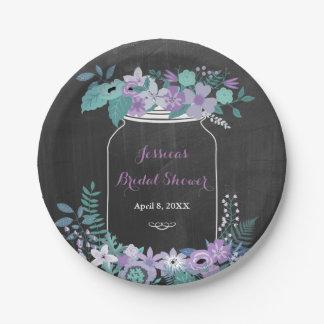 Chalkboard Mason Jar Purple Floral Bridal Shower Paper Plate