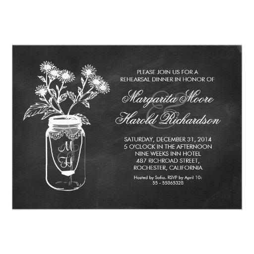 Chalkboard mason jar rehearsal dinner invitations