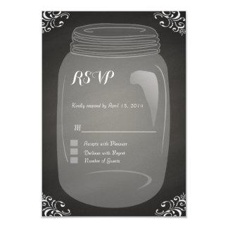 Chalkboard mason jar RSVP Cards