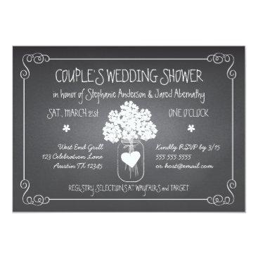 kat_parrella Chalkboard Mason Jar Rustic Couples Wedding Shower Card