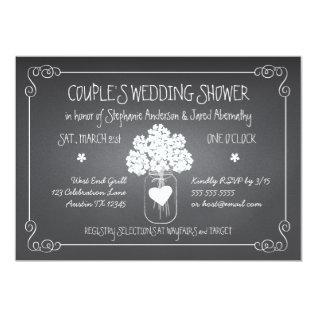 Chalkboard Mason Jar Rustic Couples Wedding Shower Card at Zazzle
