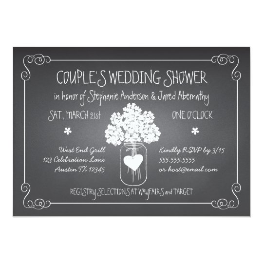 chalkboard mason jar rustic couples wedding shower card | zazzle, Wedding invitations