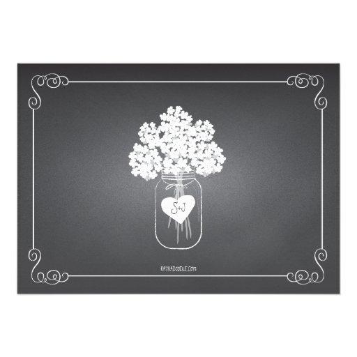 Chalkboard Mason Jar Rustic Couples Wedding Shower Personalized Invitation (back side)