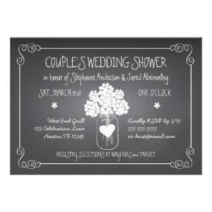 Chalkboard Mason Jar Rustic Couples Wedding Shower Personalized Invitation