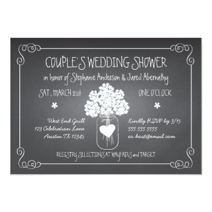Chalkboard Mason Jar Rustic Couples Wedding Shower 5x7 Paper Invitation Card