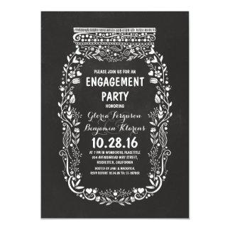 Chalkboard mason jar rustic engagement party card