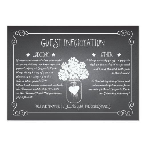 Chalkboard Mason Jar Rustic Guest Information Card Invitations