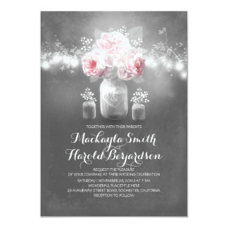 chalkboard mason jar rustic string lights wedding card