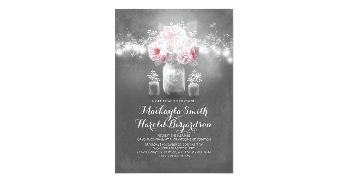 chalkboard mason jar rustic string lights wedding card Zazzle