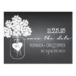 Chalkboard Mason Jar Save the Date Postcard