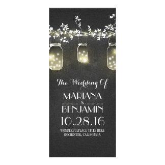 chalkboard mason jar string lights wedding program