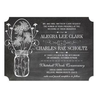 Chalkboard Mason Jar Vintage Typography Invite