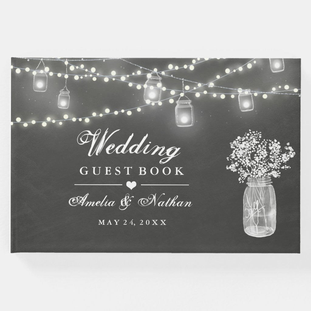 Chalkboard Mason Jar Wedding Guest Book