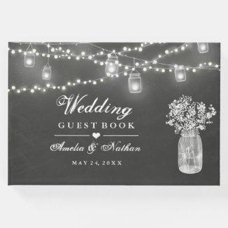 Chalkboard Mason Jar Wedding Guest Book