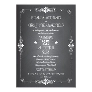 "Chalkboard Mason Jar Wedding Invitation with RSVP 5"" X 7"" Invitation Card"