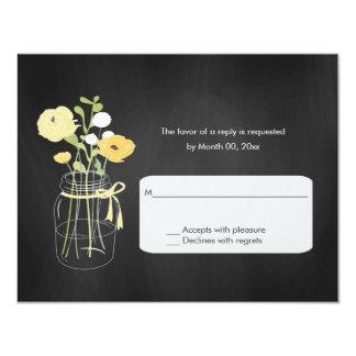 Chalkboard Mason Jar Wedding RSVP Cards Personalized Announcement