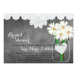 Chalkboard Mason Jar - White Daisies Bridal Shower Card