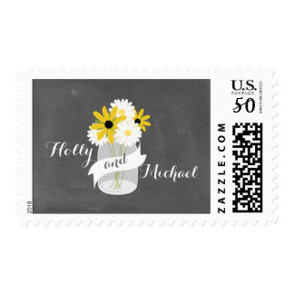 Chalkboard + Mason Jar Wildflowers Wedding Postage