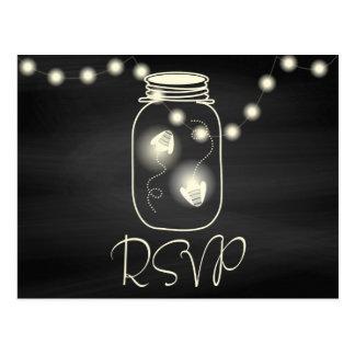 Chalkboard Mason Jar with Fireflies Wedding RSVP Postcard