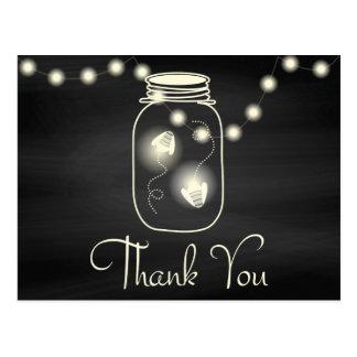 Chalkboard Mason Jar with Fireflies Wedding Thanks Postcard