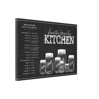 Chalkboard Mason Jars Kitchen Canvas Gallery Wrapped Canvas