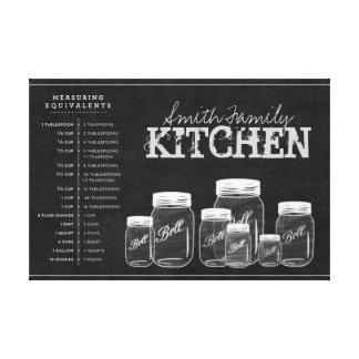 Chalkboard Mason Jars Kitchen Canvas