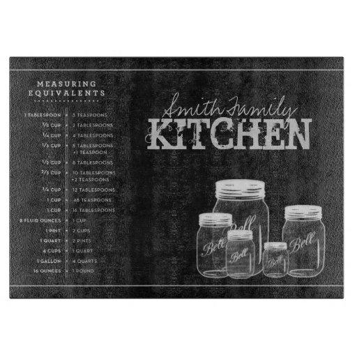 Personalized Chalkboard Mason Jars Kitchen Cutting Board