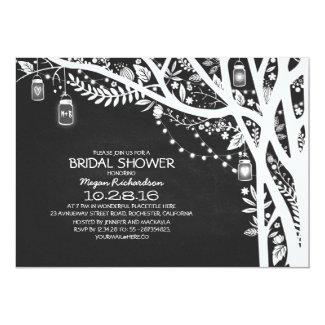 Chalkboard mason jars tree lights bridal shower card