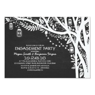 Chalkboard mason jars tree lights engagement party card