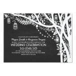 Chalkboard mason jars tree string lights wedding 5x7 paper invitation card