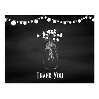 Chalkboard Mason Jars Wedding Thank You Card Postcard