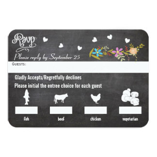 Chalkboard Menu Choice Floral Garland Wedding RSVP 3.5x5 Paper Invitation Card