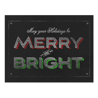 Chalkboard Merry and Bright Holiday Christmas Postcard