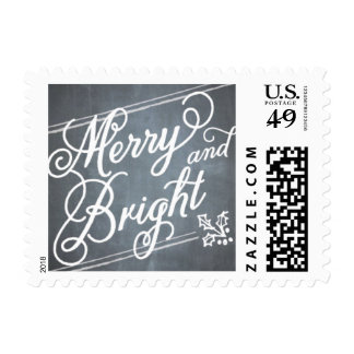 Chalkboard Merry & Bright Script Postage Stamp