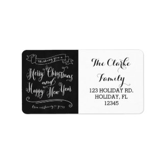 Chalkboard Merry Christmas and Happy New Year Labels