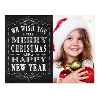 Chalkboard Merry Christmas, Happy New Year Photo Postcard