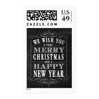 Chalkboard Merry Christmas & Happy New Year Postage Stamp