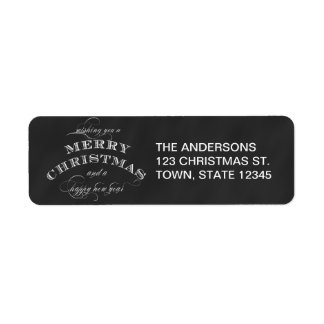 CHALKBOARD MERRY CHRISTMAS HOLIDAY GREETING LABEL