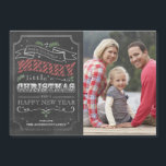 "Chalkboard Merry Christmas Magnetic Photo Card<br><div class=""desc"">7x5 Chalkboard themed magnetic Christmas Card. Customizable. Part of a Christmas collection.</div>"