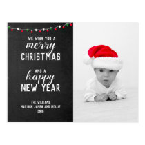 Chalkboard Merry Christmas  New Year Holiday Photo Postcard
