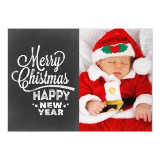Chalkboard Merry Christmas New Year Photo Card