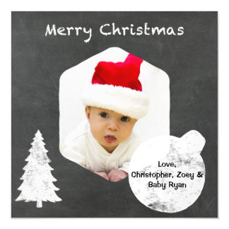 Chalkboard Merry Christmas Personalized with Photo Magnetic Card