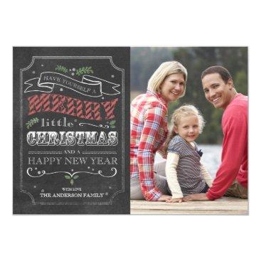 Christmas Themed Chalkboard Merry Christmas - photo card