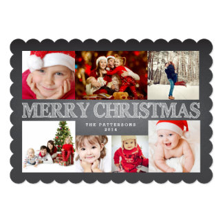 Chalkboard Merry Christmas Photo Collage Card
