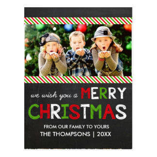 Chalkboard Merry Christmas Photo Greeting Card Postcards